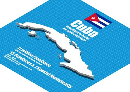dimensional: Cuba map three dimensional Illustration