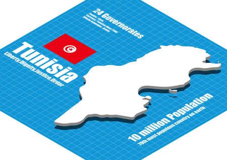 tunisia: Tunisia map three dimensional