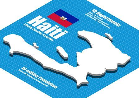 three dimensional: Haiti map three dimensional