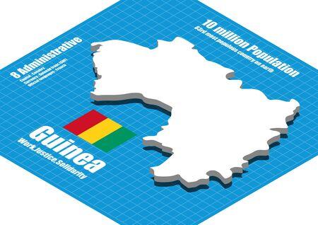 three dimensional: Guinea map vector three dimensional