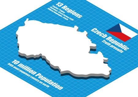 czech: Czech Republic map vector three dimensional Illustration