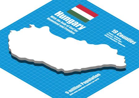 Hungary map vector three dimensional