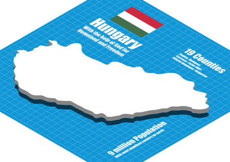 contours: Hungary map vector three dimensional