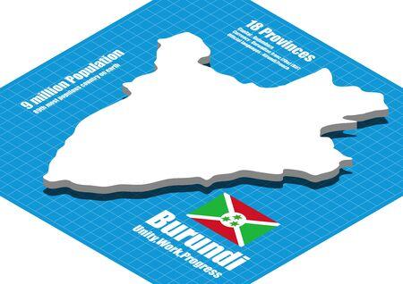 burundi: Burundi map vector three dimensional
