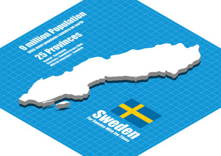 motto: Sweden map vector three dimensional