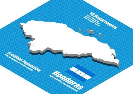 honduras: Honduras map vector three dimensional Illustration
