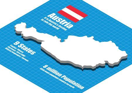 austria map: Austria map vector three dimensional Illustration