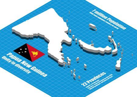 dimensional: Papua New Guinea map vector three dimensional