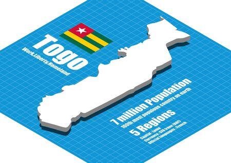 togo: Togo map vector three dimensional