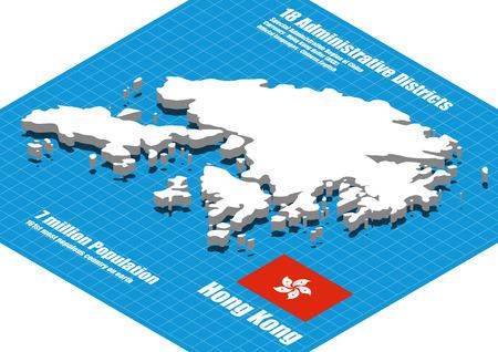 Hong Kong map vector three dimensional