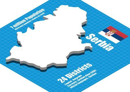 serbia flag: Serbia map vector three dimensional