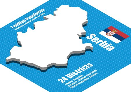 three dimensional: Serbia map vector three dimensional