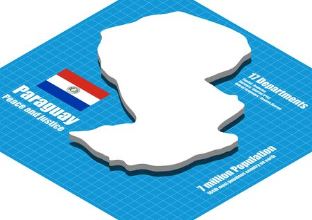 bandera de paraguay: Paraguay mapa vectorial tridimensional
