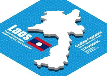 dimensional: Laos map vector three dimensional Illustration