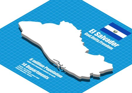 el salvador: El Salvador map vector three dimensional Illustration