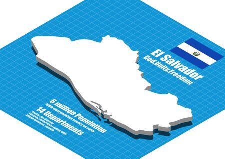 mapa de el salvador: El Salvador mapa vectorial tridimensional