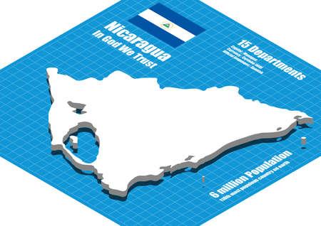 three dimensional: Nicaragua map vector three dimensional