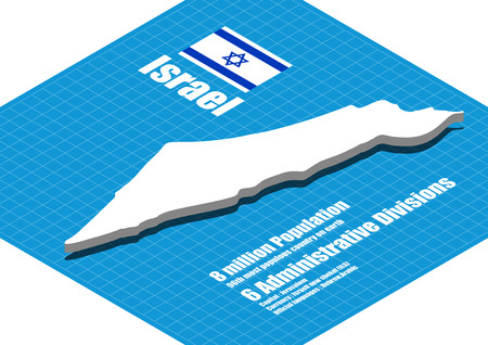 Israel map vector three dimensional
