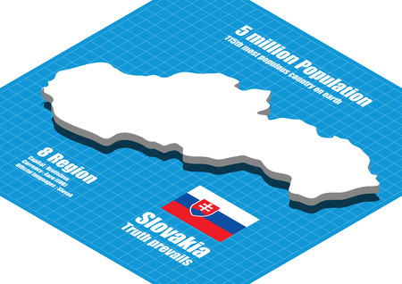 slovakia flag: Slovakia map vector three dimensional Illustration