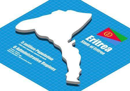 three dimensional: Eritrea map vector three dimensional Illustration