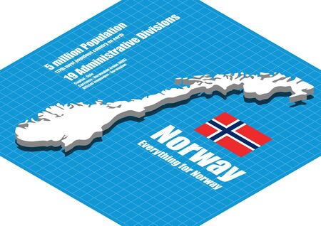 norway: Norway map vector three dimensional Illustration