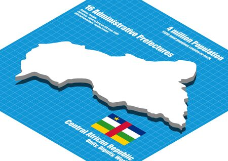 central african republic: Central African Republic map vector three dimensional Illustration