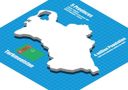 dimensional: Turkmenistan map vector three dimensional