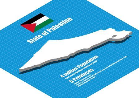 palestine: Palestine map vector three dimensional Illustration