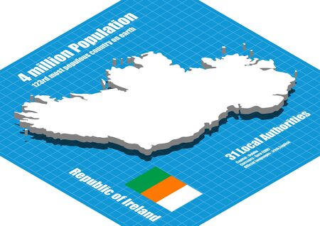 ireland map: Ireland map vector three dimensional