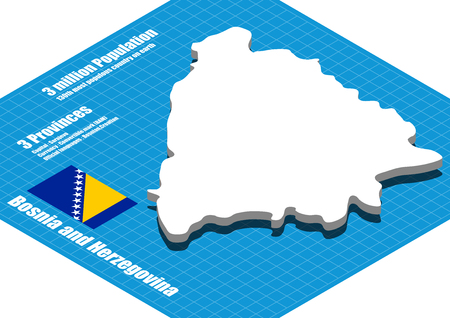 herzegovina: Bosnia and Herzegovina map vector three dimensional