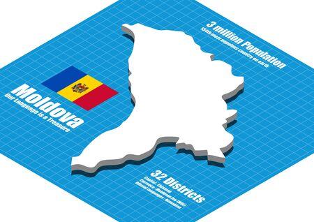 Moldawien Karte Vektor dreidimensionale