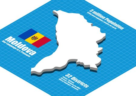 moldova: Moldova map vector three dimensional