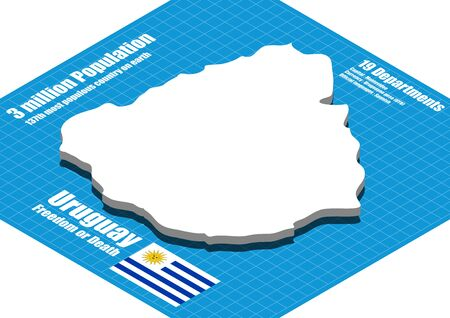uruguay: Uruguay map vector three dimensional Illustration
