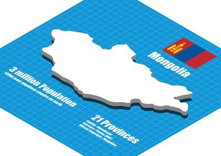 mongolia: Mongolia map vector three dimensional Illustration