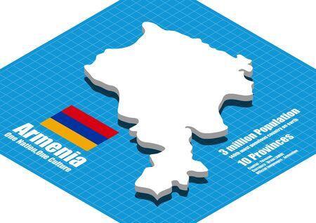 dimensional: Armenia map vector three dimensional Illustration