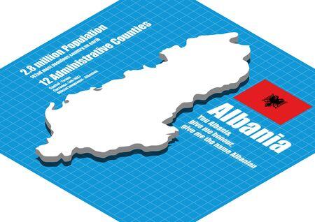 dimensional: Albania map vector three dimensional