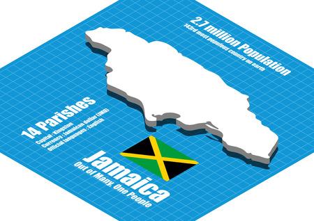 jamaica: Jamaica map vector three dimensional