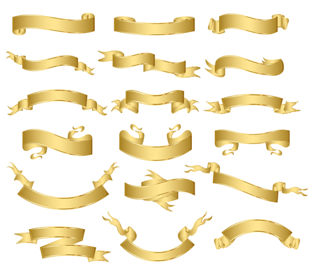 curved ribbon: set of gold ribbons.vector