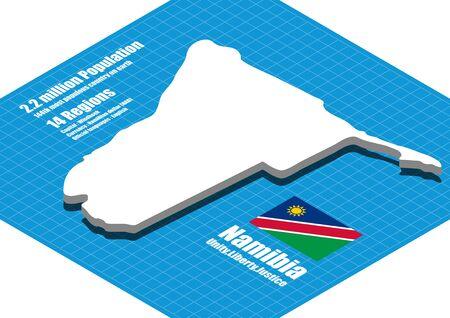 namibia: Namibia map vector three dimensional