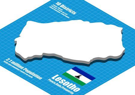 lesotho: Lesotho map vector three dimensional Illustration