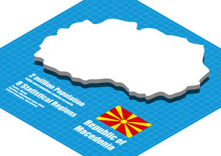 macedonia: Macedonia map vector three dimensional