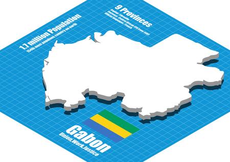 Gabon map vector three dimensional