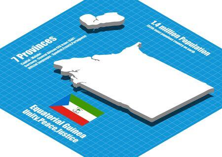 equatorial guinea: Equatorial Guinea map vector three dimensional
