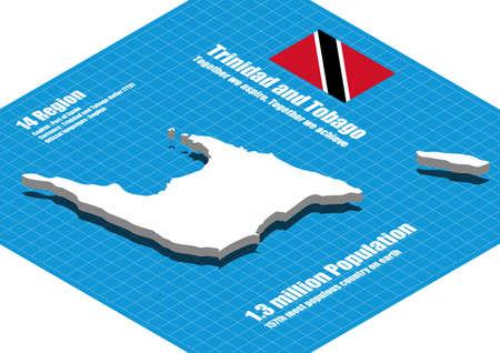 tobago: Trinidad and Tobago map vector three dimensional