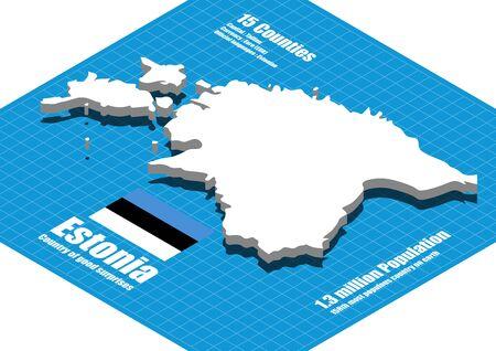 estonia: Estonia map vector three dimensional Illustration