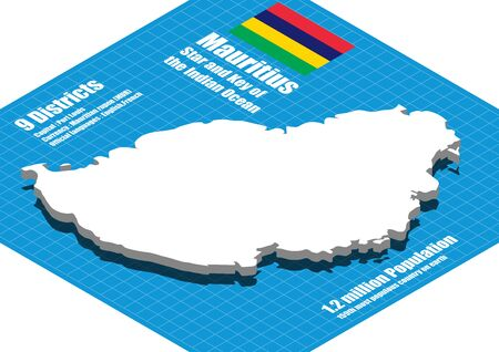 Mauritius map vector three dimensional