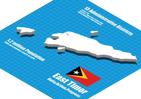 timor: East Timor map vector three dimensional