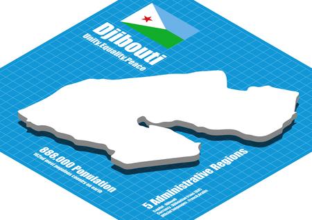 Djibouti map vector three dimensional Illustration