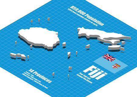 fiji: Fiji map vector three dimensional