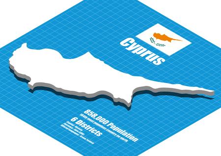 three dimensional: Cyprus map vector three dimensional Illustration